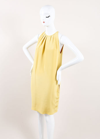 Celine Mustard Yellow Silk Pleated Sleeveless Trapeze Dress Sideview