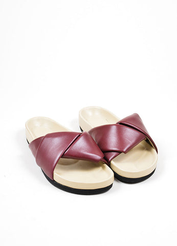 Burgundy Celine Leather Twist Flat Slide Sandals Frontview