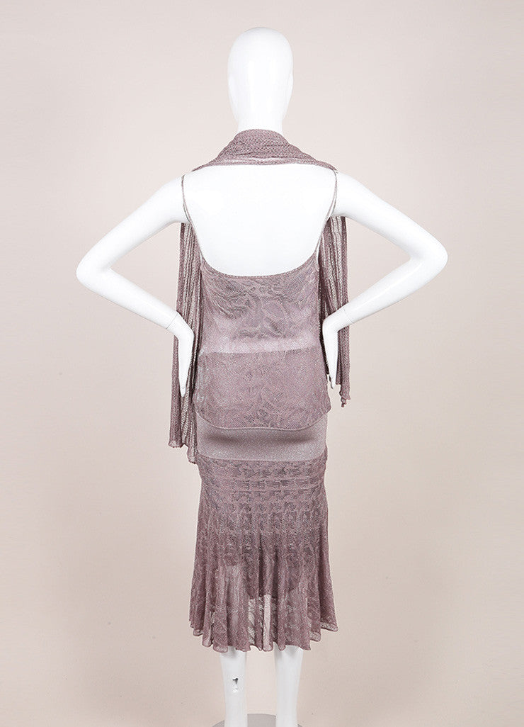 Chanel Metallic Silver and Lavender Knit Sleeveless Dress and Scarf Set Backview