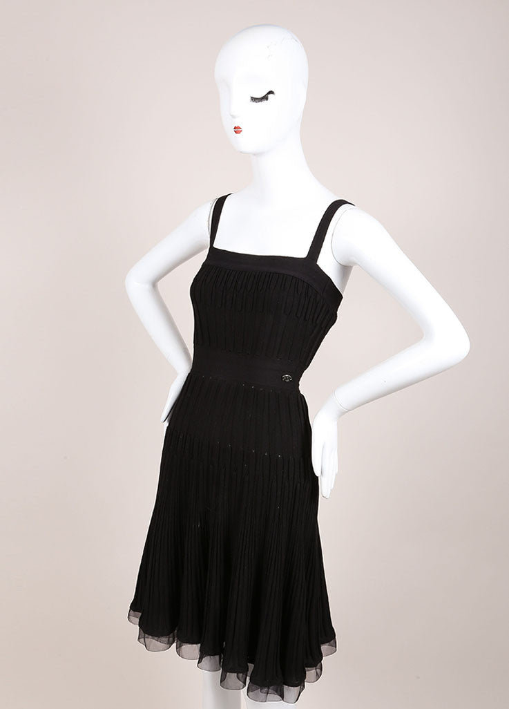 Chanel Black Wool Woven Knit Frayed Chain Embellished Sleeveless Dress Sideview