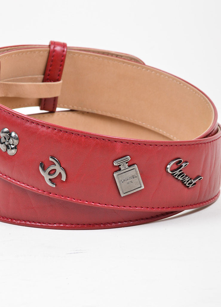 Red and Silver Toned Chanel Leather Charm Embellished 'CC' Buckle Belt Detail 2