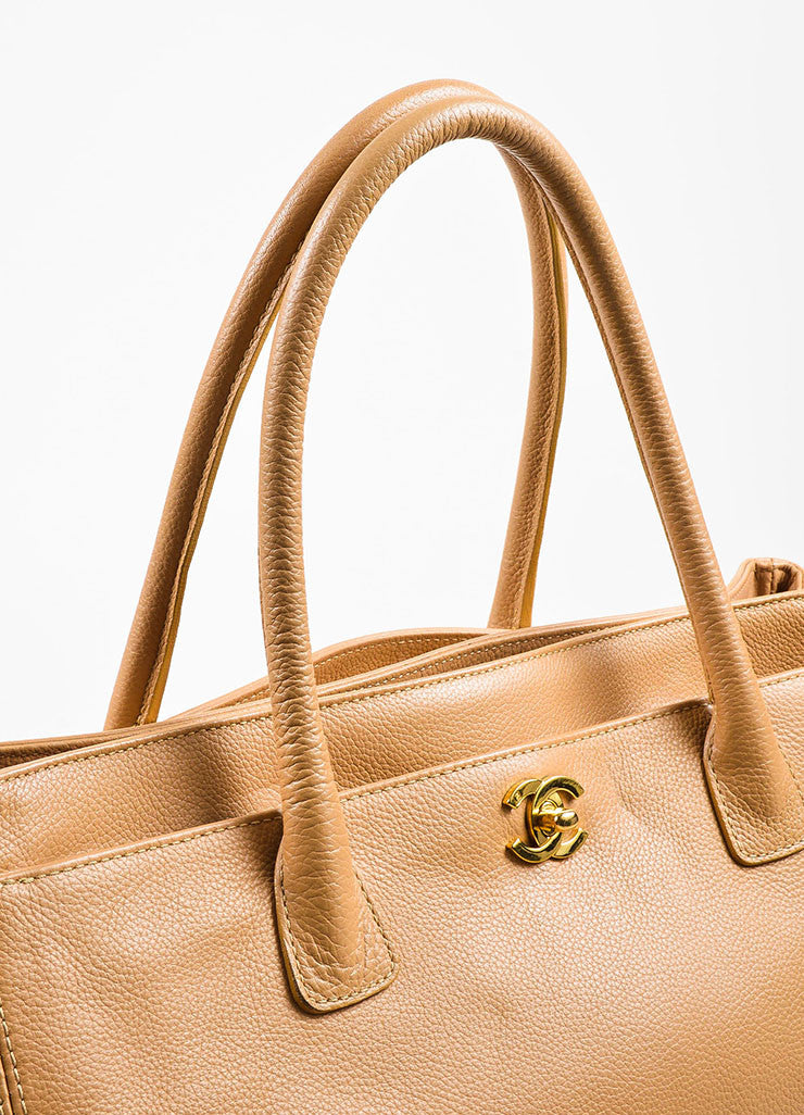 "Chanel Beige Leather 'CC' ""Cerf"" Shopper Handbag Detail 2"