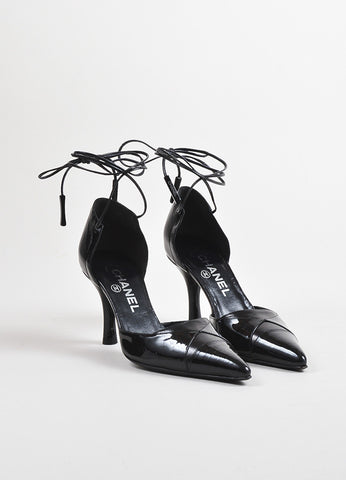 Chanel Black Leather Patent Leather Cap Toe Wrap Up Pumps Frontview