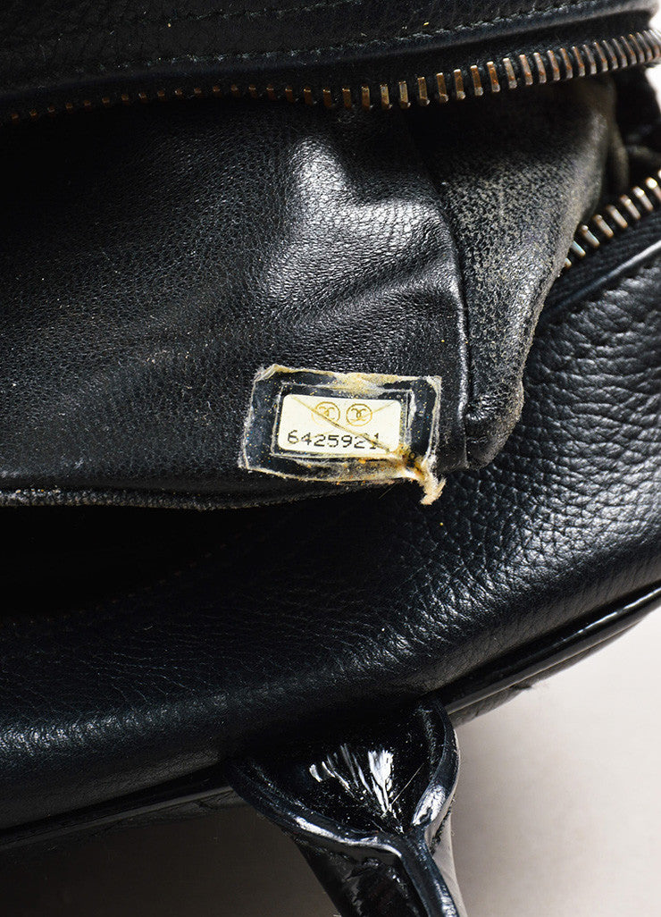 Chanel Black Leather Quilted Stitched Script Patent Top Handle Bowler Bag Serial
