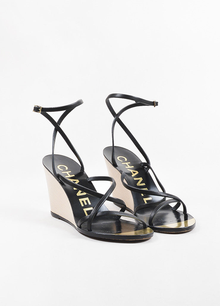 Chanel Black, Metallic Gold, and Cream Leather Strappy Wedge Sandals Frontview