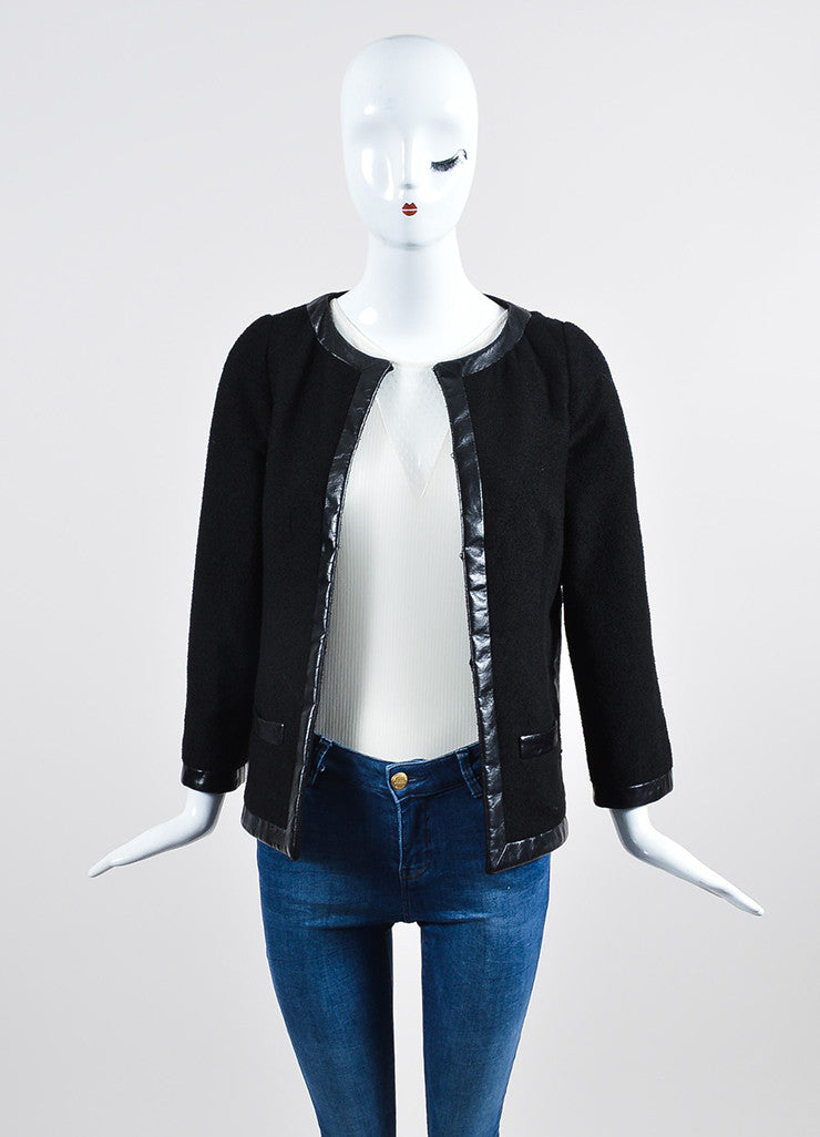 Black Chanel Woolen Knit Leather Trim Tailored Blazer Jacket Frontview