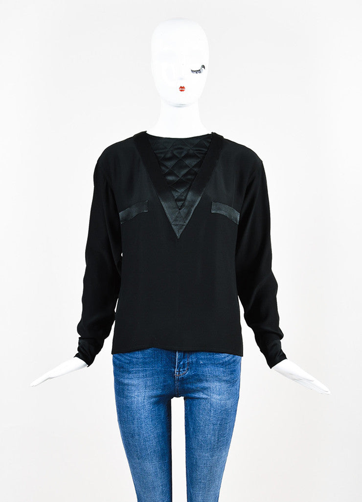 Chanel Black Quilted Inset and Buttoned Back Long Sleeve Blouse Frontview