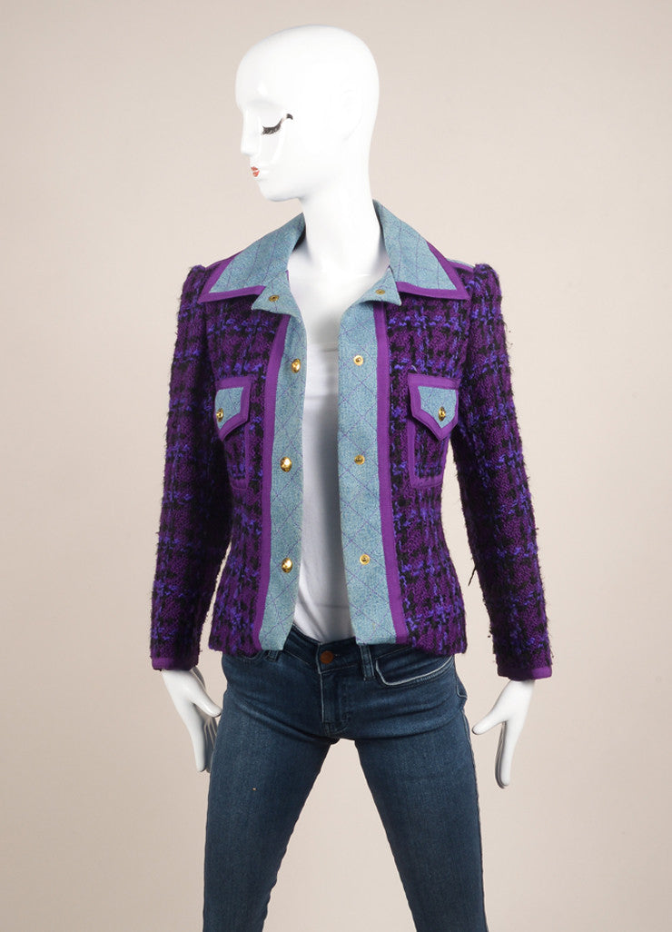 Chanel Purple and Black Wool Knit Denim Trim Woven Long Sleeve Jacket Frontview