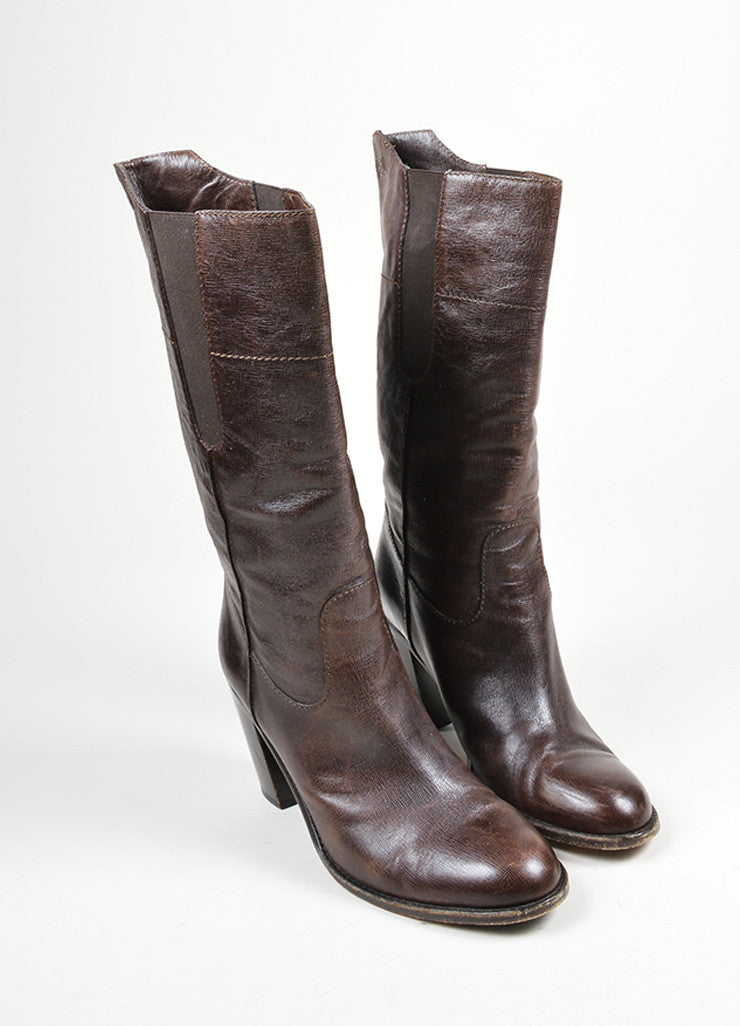 Brown Grained Leather Chanel Round Toe Heeled Mid Calf Boots Frontview