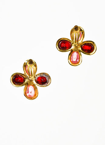 Gold Toned, Red, and Pink Gripoix Stone Chanel 'CC' Logo Flower Clip On Earrings Backview