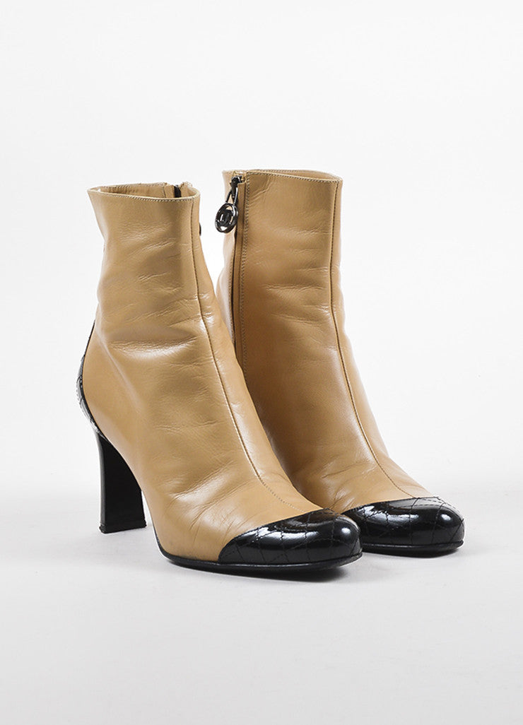 Chanel Light Beige and Black Patent Leather Quilted Cap Toe Short Boots Frontview