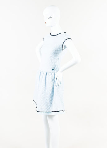 Chanel Light Blue Metallic Textured Knit Fit Flare Jewel Neck Dress Side