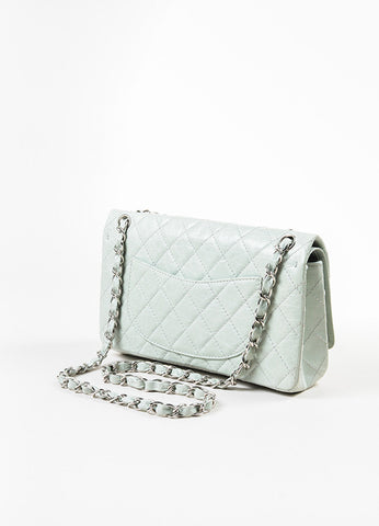 Chanel Mint Distressed Quilted Leather Medium Double Flap Chain Shoulder Bag Sideview
