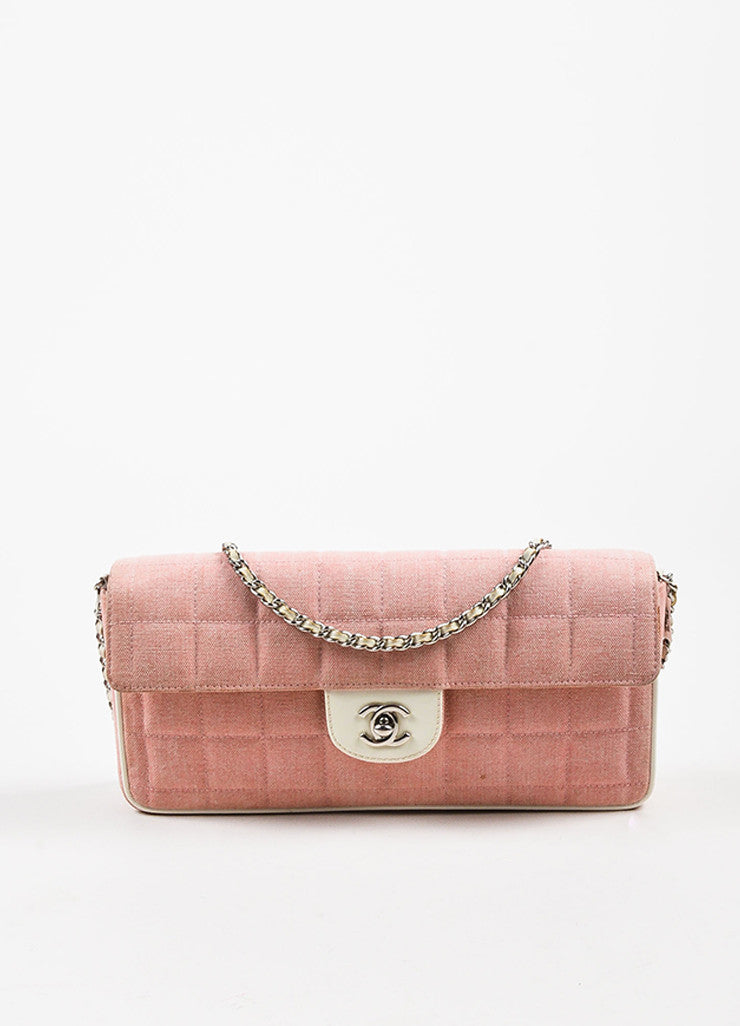 "Chanel Pink and White Canvas Leather Trim ""Chocolate Bar"" East West Shoulder Bag frontview"