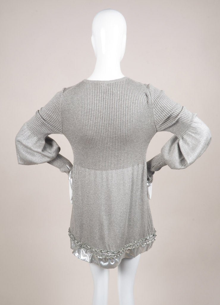 Chanel Silver Metallic Ribbed Knit Chain Link Trim Long Sleeve Sweater Dress Backview