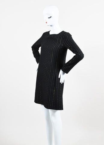 Black and Gold Chloe Silk and Wool Blend Pinstriped Long Sleeve Shift Dress Sideview
