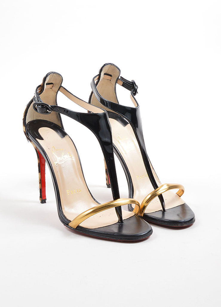 "Christian Louboutin Black Leather and Pony Hair ""Athena Atla 100"" Heels Frontview"