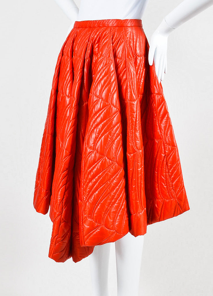 Red Christian Dior Quilted Nylon Angled Pleated Skirt Sideview