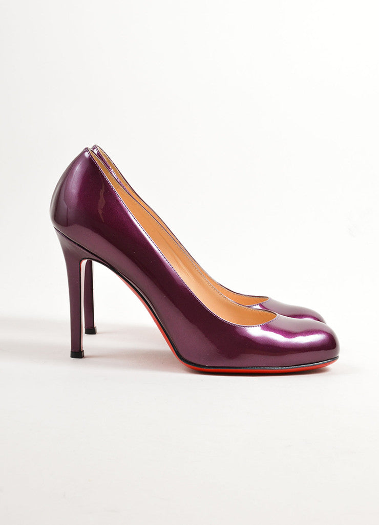 "Christian Louboutin Purple ""Amethyst"" Patent Leather ""Simple"" Pumps Sideview"