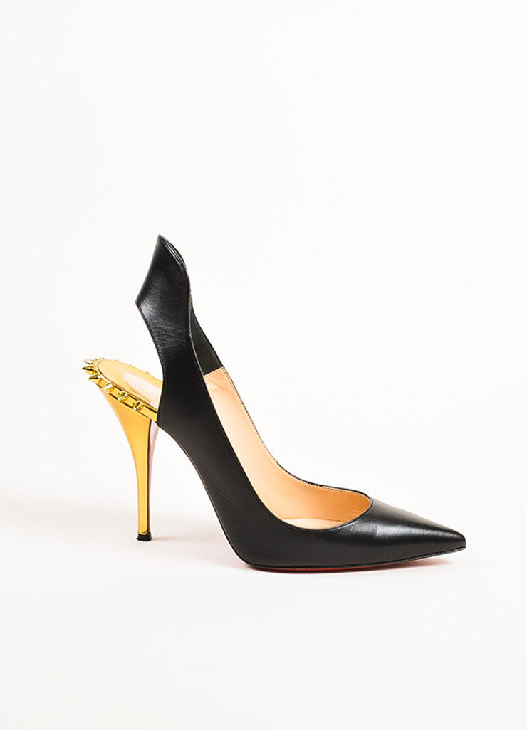 "Christian Louboutin Black and Gold Leather Spiked ""Survivita 100"" Pumps Sideview"