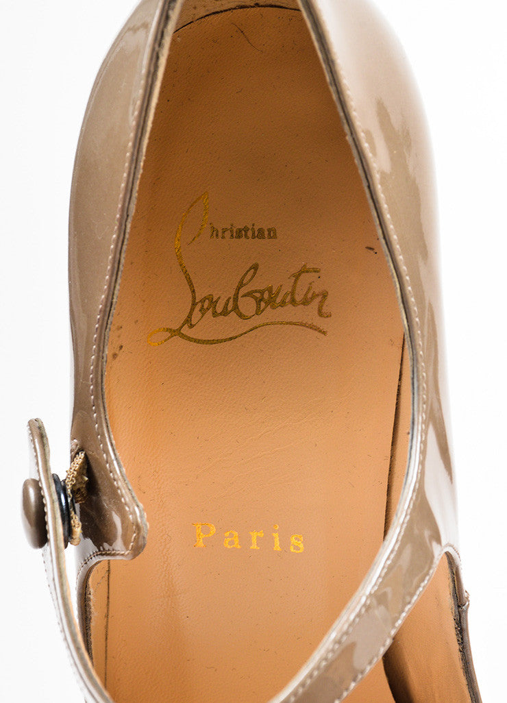 Christian Louboutin Grey Patent Leather Mary Jane Platform Pumps Brand