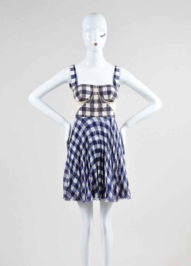 Purple and White Christopher Kane Silk Mesh Gingham Open Back Bustier Dress Frontview