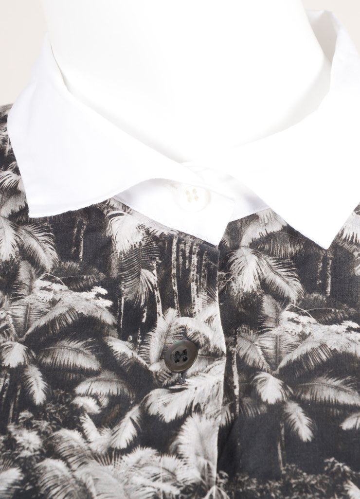 Dries Van Noten Black and White Cotton Palm Tree Print Button Down Long Sleeve Top Detail