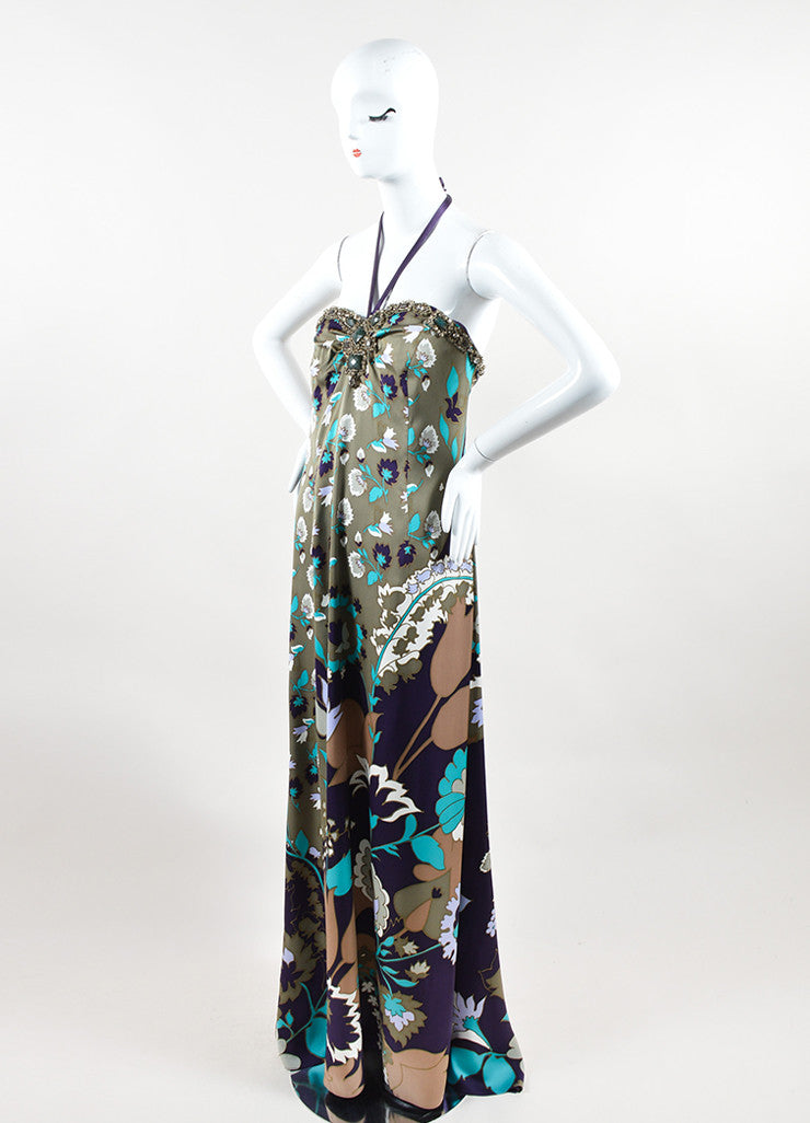 Escada Multicolor Silk Floral Print Rhinestone Beaded Halter Gown Sideview