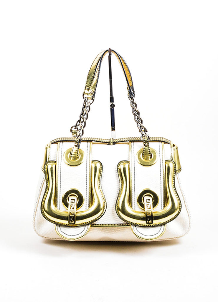 "Cream and Gold Fendi Metallic Leather and Canvas Oversized Buckle ""B"" Bag Frontview"