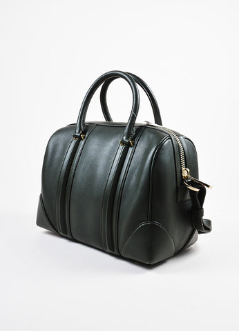 "Givenchy Dark Olive Green Leather Paneled ""Medium Lucrezia"" Duffel Bag Sideview"