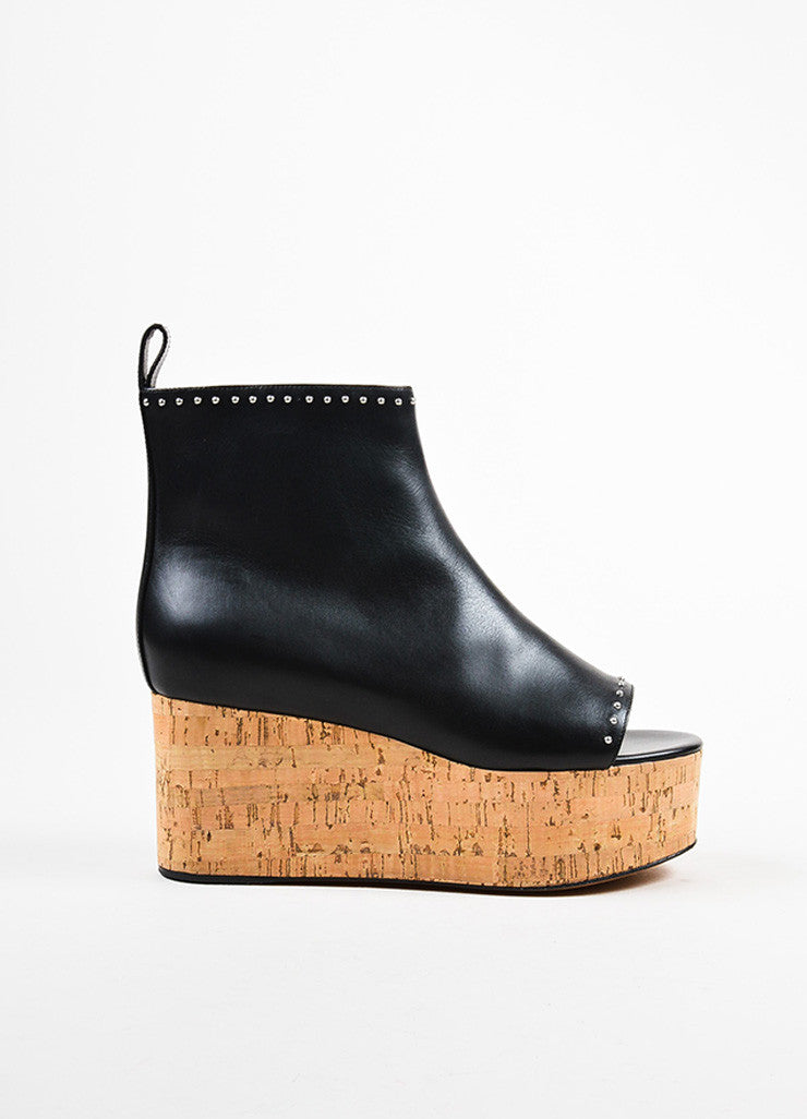Givenchy Black Leather and Cork Platform Wedge Open Toe Booties Sideview