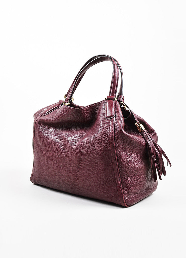 "Maroon Gucci Leather Embossed 'GG' Tassel ""Soho Working"" Tote Bag Side"