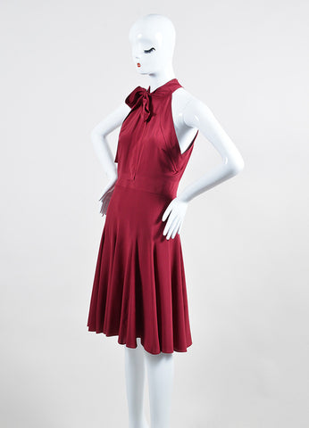 Burgundy Gucci Silk Neck Tie Bow Flare Godet Dress Sideview