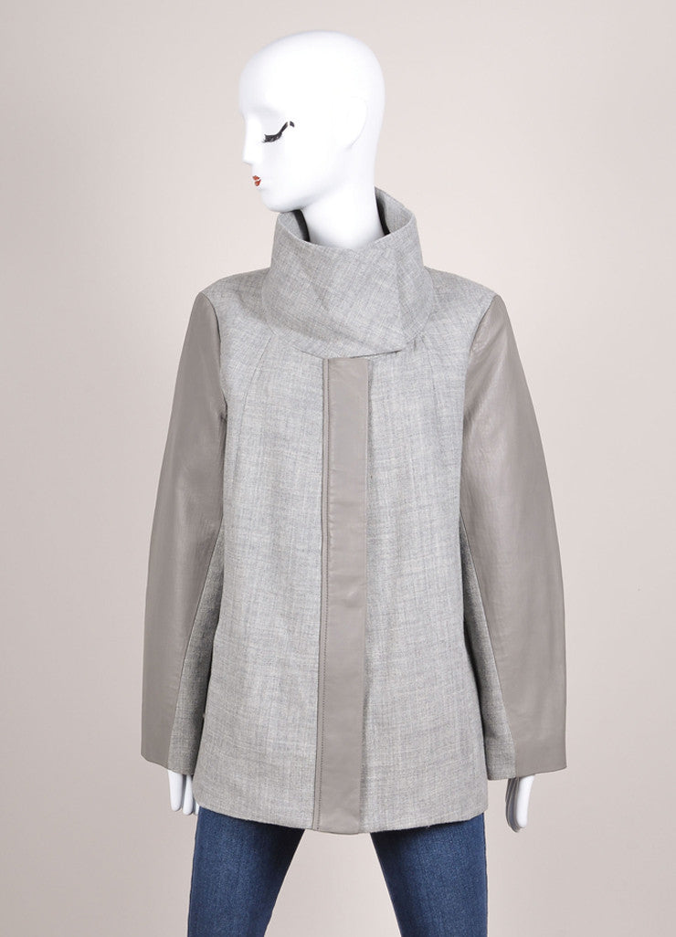 Helmut Lang New With Tags Grey Leather and Wool Paneled Funnel Neck Zip Coat Frontview