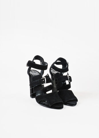 Hermes Black Suede Buckled Open Toe Cage Sandals Frontview