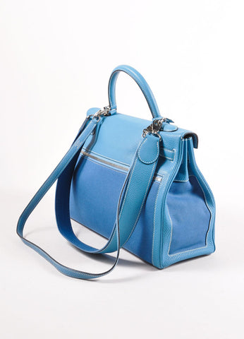 "Hermes Blue and Silver Tone SHW Canvas Clemence Leather ""35cm Kelly Lakis"" Handbag Sideview"