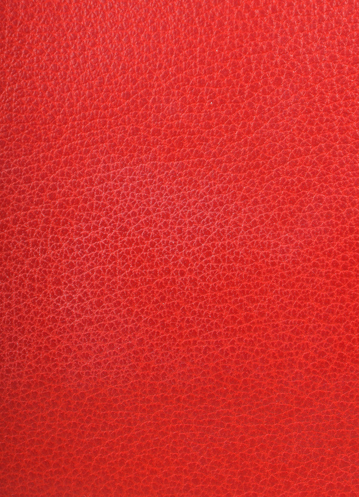 "Hermes Red and Gold Toned ""Rouge Garance"" Buffalo Skipper Leather 35cm Birkin Bag Detail 3"