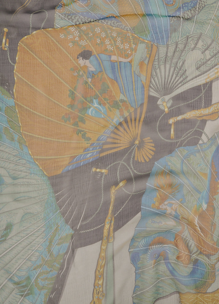 Hermes Grey, Black, and Green Silk Chiffon Equestrian Print Scarf Detail 2