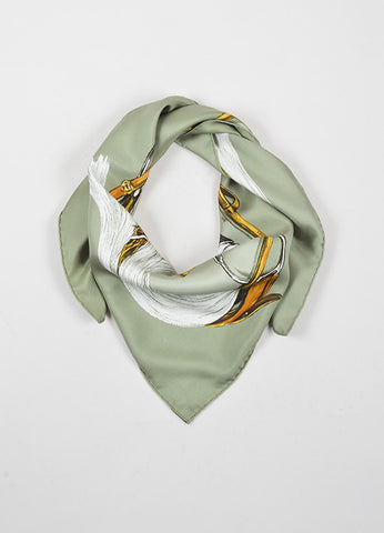 "Hermes Green and Multicolor Silk ""A Propos de Bottes"" 90cm Scarf Frontview"