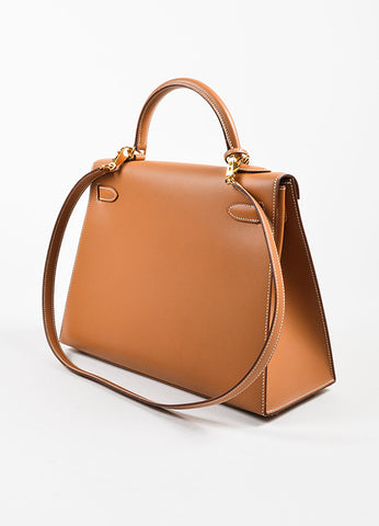 "Hermes Natural Tan Chamonix Leather Gold Toned Hardware ""Kelly 32cm"" Bag Sideview"