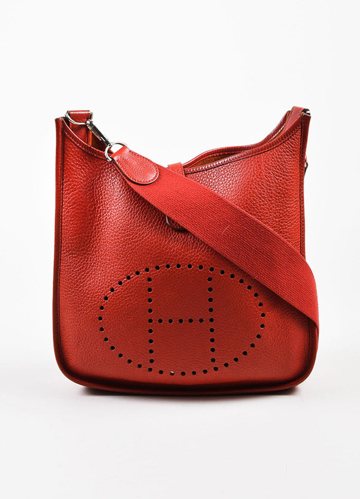 "Hermes Red Clemence Leather Canvas Strap ""Evelyne II PM"" Shoulder Bag Frontview"
