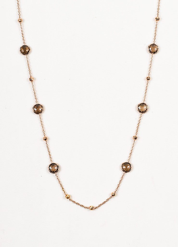 Ippolita Rose Gold Plated Sterling Silver Smoky Quartz 8 Station Chain Necklace Detail