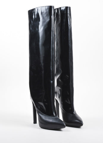 Jimmy Choo Black Glossy Leather Pointed Toe High Heel Tall Boots Frontview