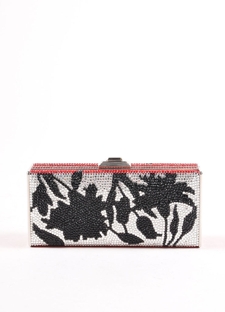 Judith Leiber Black, Red, and Silver Toned Floral Rhinestone Clutch Bag Frontview