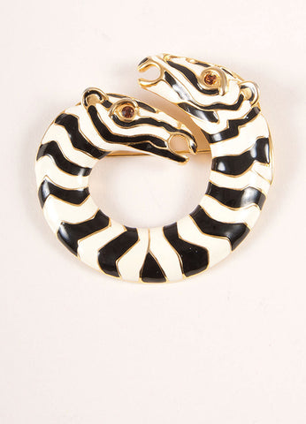 Kenneth Jay Lane Gold Toned, Cream, and Black Enamel Zebra Stripe Brooch Pin Frontview