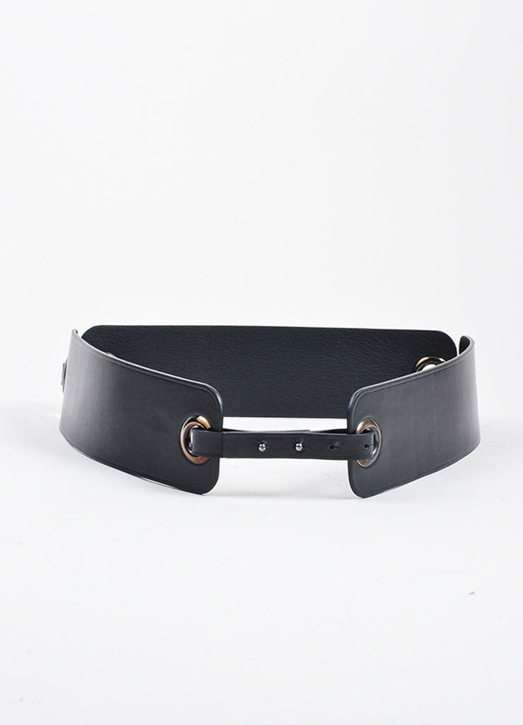 Black Lanvin Leather Eyelet Link Strap Waist Belt Frontview