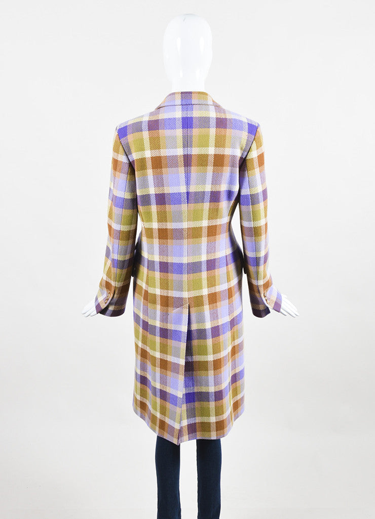 Loro Piana Tan, Purple, and Green Wool Chevron Plaid Button Up Coat Backview