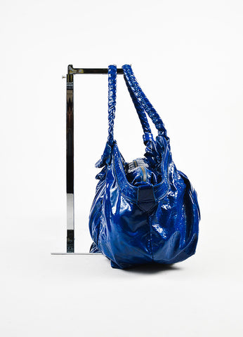 "Christian Louboutin Blue Patent Leather Ruched ""Telescope"" Hobo Bag Sideview"