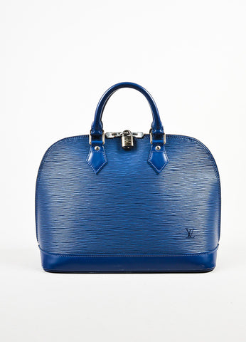 "Louis Vuitton Blue ""Blueberry"" Epi Leather ""Alma PM"" Satchel Bag Frontview"