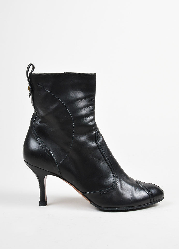 Black Louis Vuitton Leather Stitched High Heeled Ankle Boots Sideview